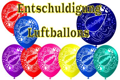 mit Luftballons Entschuldigung sagen