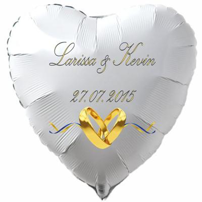 personalisierter-weisser-Herzluftballon-zur-Hochzeit-mit-Namen des-Hochzeitpaares-Datum-des-Hochzeitstages-weiss-mit-goldenen-Hochzeitsringen